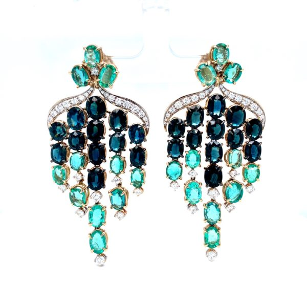 Earrings with diamonds, sapphires and emeralds