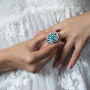 """""""Coral paraiba"""" ring"""