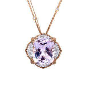 """Manta"" pendant with kunzite and diamonds"