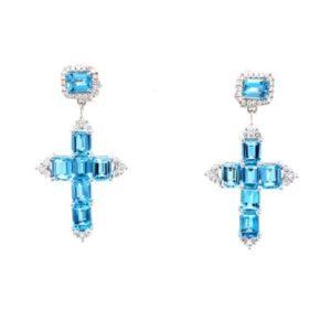 Beautiful cross earrings with diamonds and aquamarine