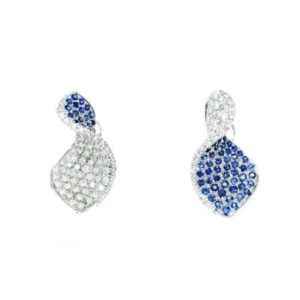 Stylish earrings with diamonds and sapphires