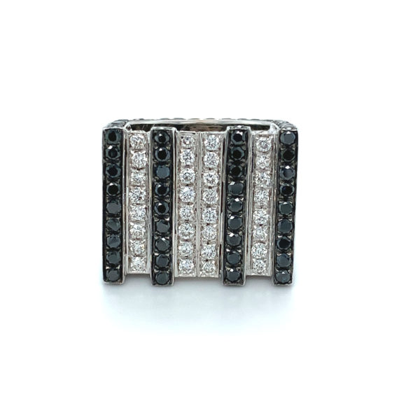 Square signet ring with white and black diamonds