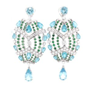 """Fantasia"" earrings with diamonds and apatite"
