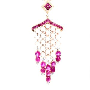 Necklace with diamonds, rubies, pink sapphires and moonstones